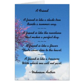 Tarjeta de la flor de cerezo de la amistad