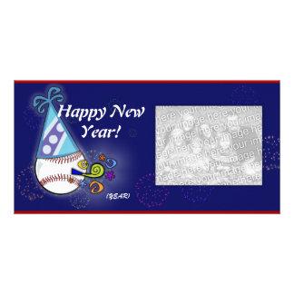 Tarjeta de la foto - béisbol del Año Nuevo Tarjeta Personal