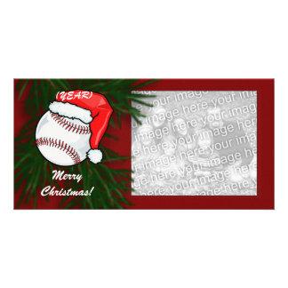 Tarjeta de la foto - béisbol del navidad plantilla para tarjeta de foto