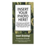 Tarjeta de la foto - Camo verde (día de fiesta, fa Tarjetas Fotográficas Personalizadas