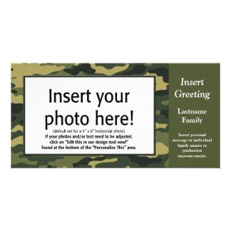 Tarjeta de la foto - Camo verde (día de fiesta, fa Tarjetas Fotograficas Personalizadas
