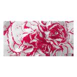 Tarjeta de la foto - clavel en rojo y blanco tarjeta personal