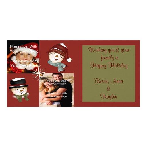 Tarjeta de la foto de familia de los muñecos de ni tarjeta fotografica