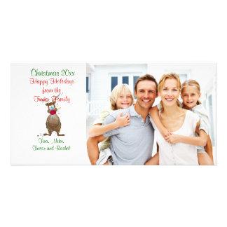 Tarjeta de la foto de familia del reno del navidad tarjeta personal