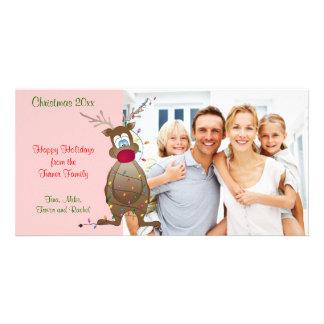 Tarjeta de la foto de familia del reno del navidad tarjetas fotográficas