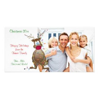 Tarjeta de la foto de familia del reno del navidad tarjetas fotograficas