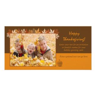 Tarjeta de la foto de la acción de gracias con las tarjeta fotográfica