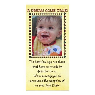 tarjeta de la foto de la adopción tarjetas personales