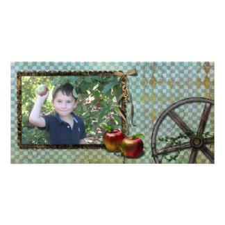 tarjeta de la foto de la cosecha de la manzana tarjeta fotografica