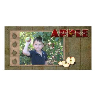 tarjeta de la foto de la cosecha de la manzana tarjeta fotográfica