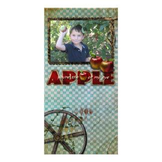 tarjeta de la foto de la cosecha de la manzana tarjeta personal con foto