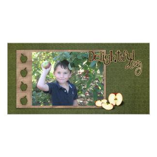 tarjeta de la foto de la cosecha de la manzana tarjetas fotográficas