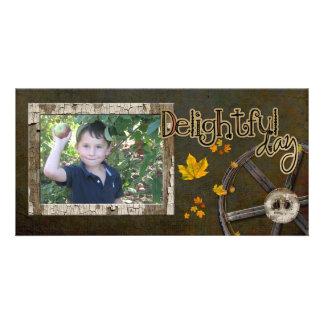 tarjeta de la foto de la cosecha de la manzana tarjeta fotografica personalizada