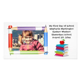 Tarjeta de la foto de la escuela de los niños de tarjetas fotográficas