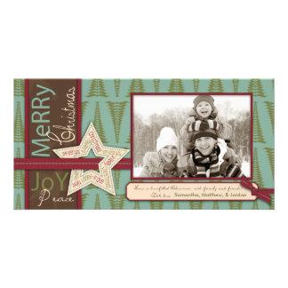 Tarjeta de la foto de la estrella del navidad tarjeta fotografica personalizada