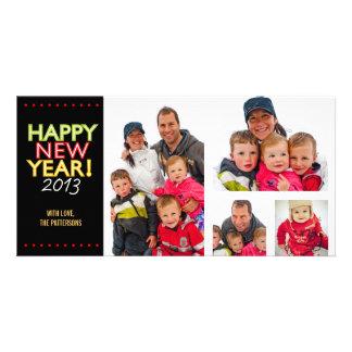 Tarjeta de la foto de la Feliz Año Nuevo de cuatro Plantilla Para Tarjeta De Foto