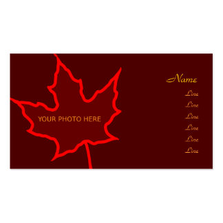 Tarjeta de la foto de la hoja del otoño plantillas de tarjetas personales