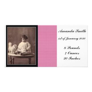 Tarjeta de la foto de la invitación de la niña tarjetas personales con fotos