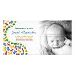 Tarjeta de la foto de la invitación del bebé de lo tarjetas personales con fotos