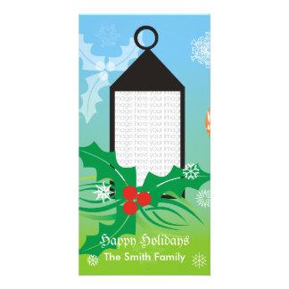 Tarjeta de la foto de la luz de navidad tarjeta personal