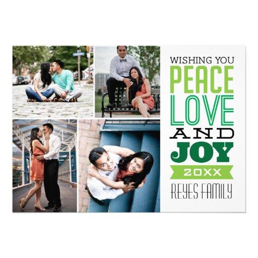tarjeta de la foto de la paz, del amor y de la ale