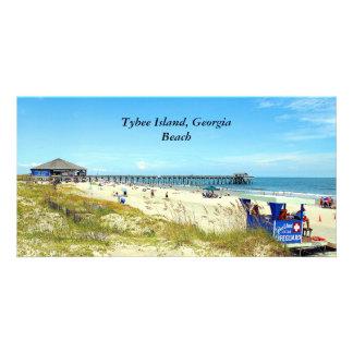 Tarjeta de la foto de la playa de la isla de tarjetas personales