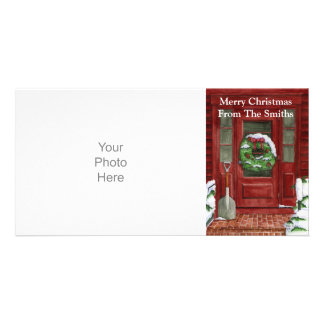 Tarjeta de la foto de la puerta del día de fiesta tarjetas fotográficas personalizadas