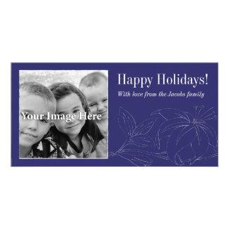Tarjeta de la foto de la púrpura real buenas fiest tarjeta personal con foto