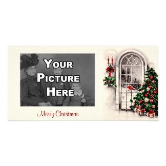 Tarjeta de la foto de la ventana del navidad plantilla para tarjeta de foto