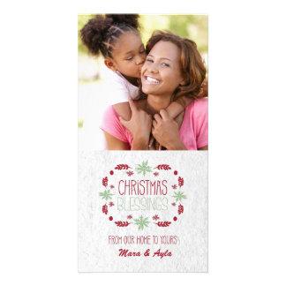 Tarjeta de la foto de las bendiciones del navidad tarjetas fotográficas