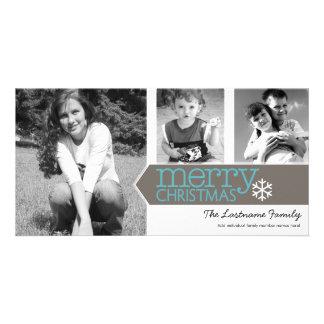 Tarjeta de la foto de las Felices Navidad con 3 fo Tarjeta Personal