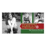 Tarjeta de la foto de las Felices Navidad con 3 fo Tarjeta Fotográfica Personalizada