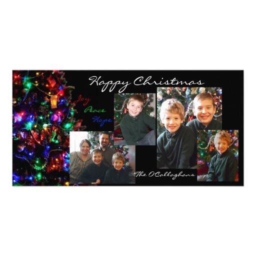Tarjeta de la foto de las felices Navidad - fondo  Tarjeta Fotografica Personalizada