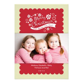 Tarjeta de la foto de las Felices Navidad Invitación