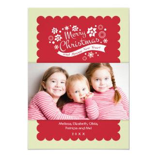 """Tarjeta de la foto de las Felices Navidad Invitación 5"""" X 7"""""""