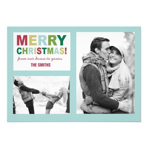 Tarjeta de la foto de las Felices Navidad Comunicado