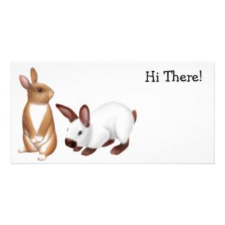 Tarjeta de la foto de los amigos del conejo tarjetas fotográficas