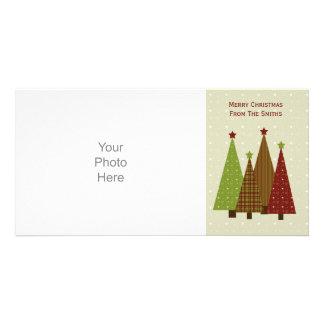Tarjeta de la foto de los árboles de navidad del tarjeta fotográfica
