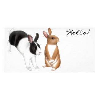 Tarjeta de la foto de los conejos del mascota tarjeta fotografica personalizada