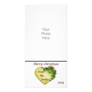 Tarjeta de la foto de los corazones del acebo tarjeta con foto personalizada