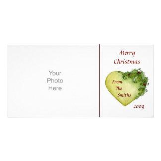Tarjeta de la foto de los corazones del acebo tarjeta fotografica
