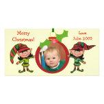 Tarjeta de la foto de los duendes del navidad del  tarjetas personales