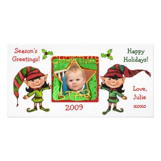 Tarjeta de la foto de los duendes del navidad del  tarjeta fotografica