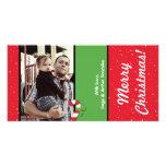 tarjeta de la FOTO de los ornamentos del navidad 4 Tarjetas Con Fotos Personalizadas