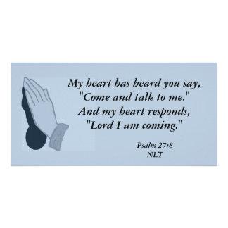 Tarjeta de la foto del 27:8 del salmo tarjeta personal con foto