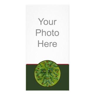 Tarjeta de la foto del acebo de Greenman Plantilla Para Tarjeta De Foto