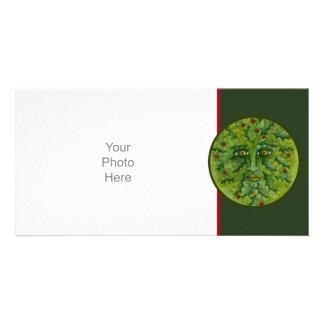 Tarjeta de la foto del acebo de Greenman Tarjetas Fotograficas Personalizadas