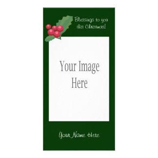 Tarjeta de la foto del acebo del navidad tarjetas personales con fotos