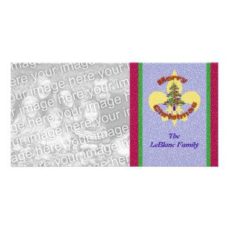 Tarjeta de la foto del árbol de navidad de la flor tarjetas personales con fotos