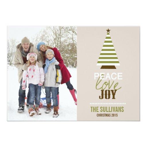 Tarjeta de la foto del árbol de navidad del amor y invitacion personalizada